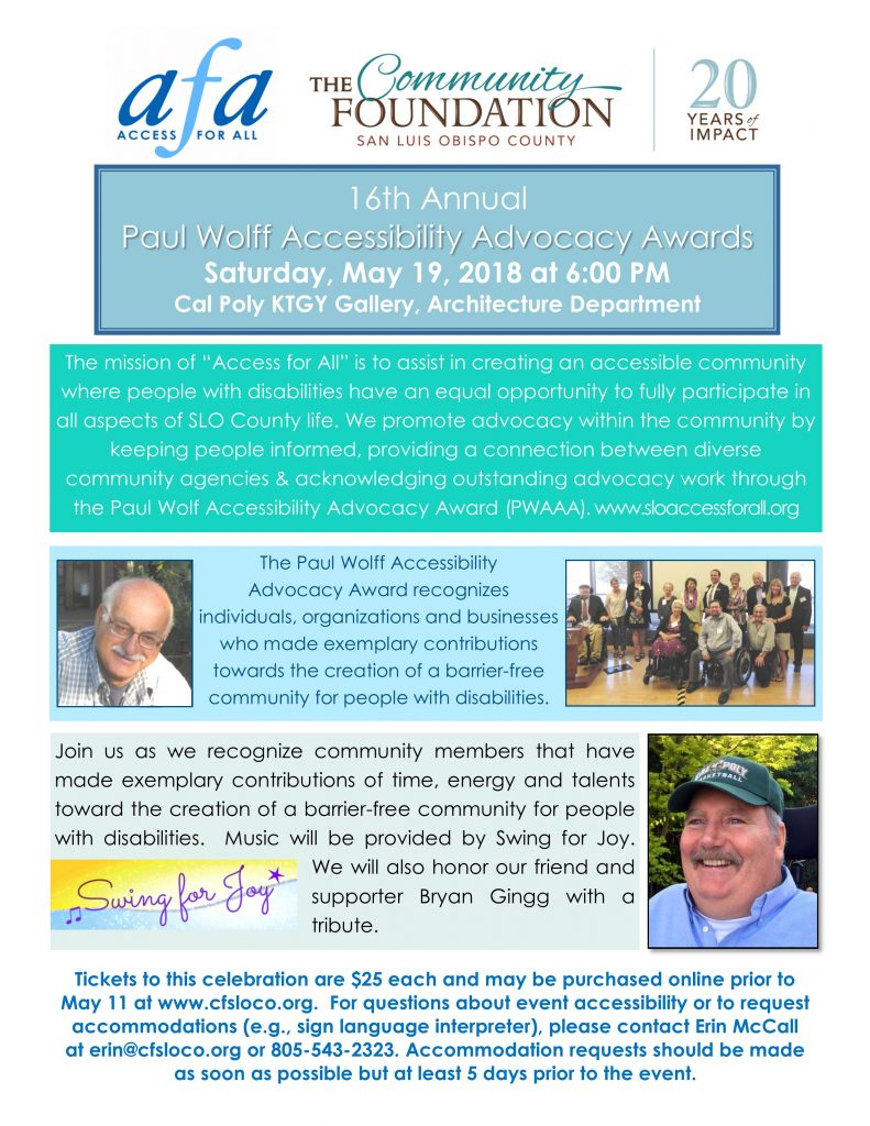 Flyer promoting the PWAAA event on May 19, 2018 with photos of Paul Wolff, the AFA Advisory Committee and Bryan Gingg